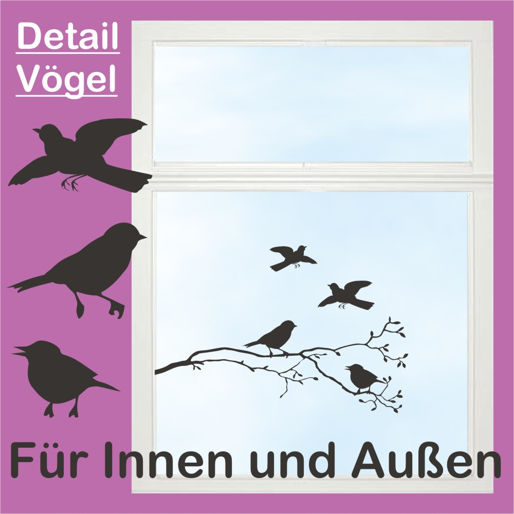aufkleber v gel vogel ast zweig f r fenster 40x15cm ebay. Black Bedroom Furniture Sets. Home Design Ideas