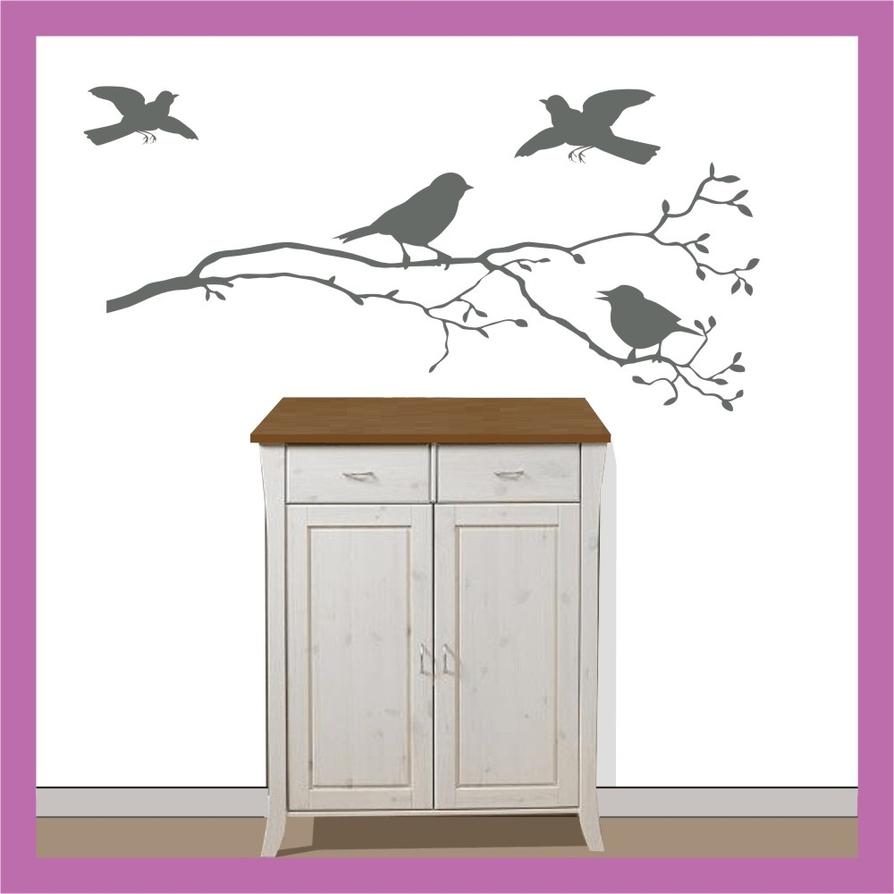 wandtattoo fenster vogel spatz auf ast zweig 40x15cm ebay. Black Bedroom Furniture Sets. Home Design Ideas